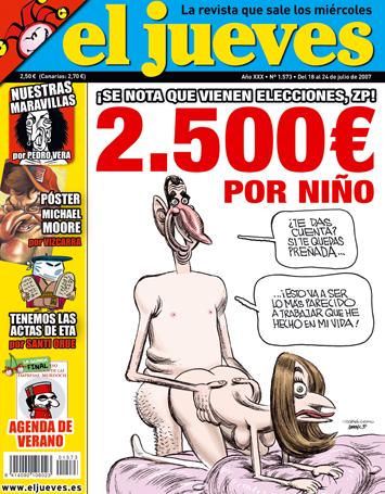 """portada de """"El Jueves"""" secuestrada y censurada (Nº 1573) del 18 al 24 de julio de2007"""